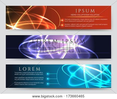 Glowing vector banners. Scientific and futuristic banner set with light effects. Light effects Scientific and futuristic banners set