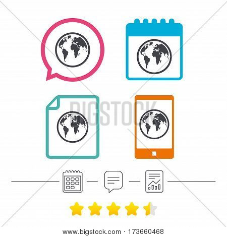 Globe sign icon. World map geography symbol. Calendar, chat speech bubble and report linear icons. Star vote ranking. Vector