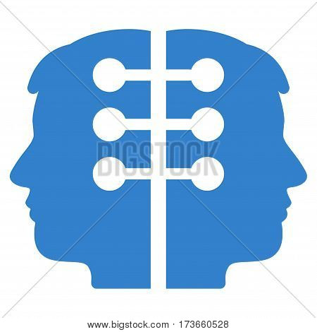 Dual Head Interface vector icon. Flat cobalt symbol. Pictogram is isolated on a white background. Designed for web and software interfaces.