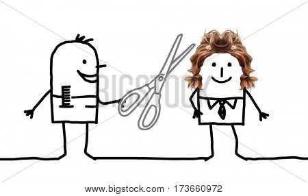 Cartoon people - hairdresser and man hairstyle