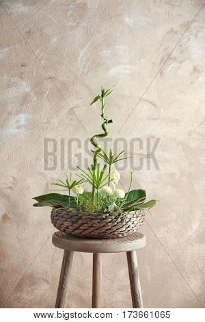 Flower arrangement on color background