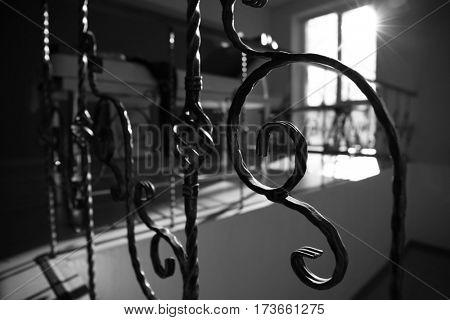 Part of iron railing, closeup
