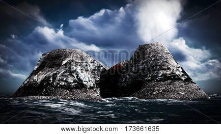Volcanic eruption on island 3d rendering