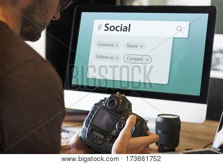 Digital Communication Social Media Graphic Words Icons