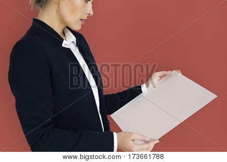 Caucasian Business Woman Holding Document