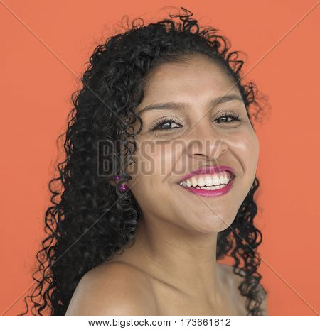Woman Smiling Happiness Bare Chest Studio Portrait