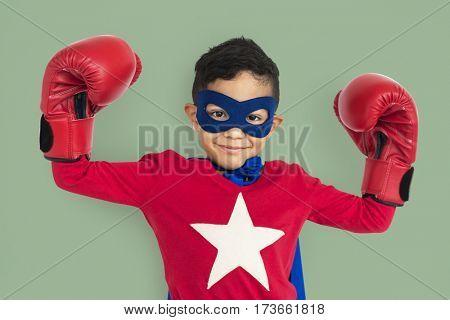 Little Boy Superhero Studio Portrait Concept