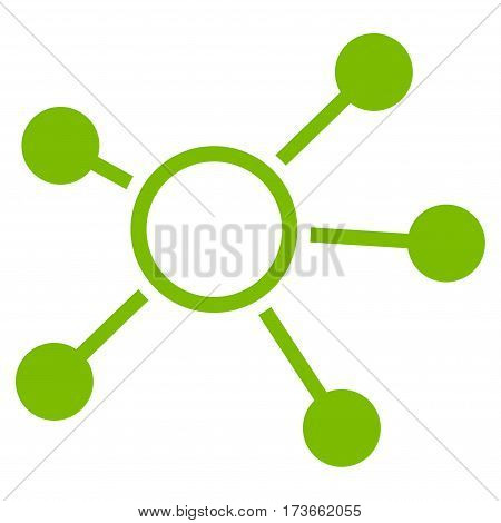 Connections vector icon. Flat eco green symbol. Pictogram is isolated on a white background. Designed for web and software interfaces.