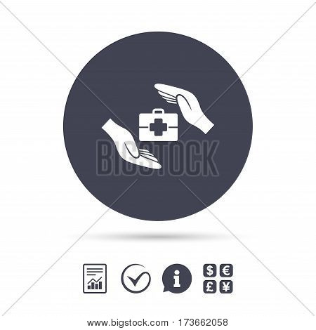 Medical insurance sign icon. Health insurance symbol. Doctor case. Report document, information and check tick icons. Currency exchange. Vector