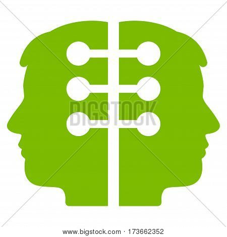 Dual Head Interface vector icon. Flat eco green symbol. Pictogram is isolated on a white background. Designed for web and software interfaces.