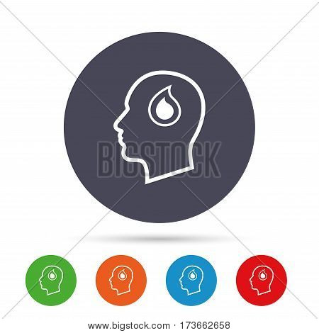 Head with blood drop sign icon. Male human head symbol. Round colourful buttons with flat icons. Vector