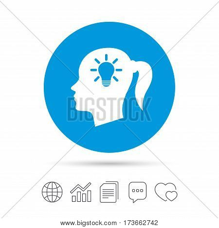 Head with lamp bulb sign icon. Female woman human head idea with pigtail symbol. Copy files, chat speech bubble and chart web icons. Vector