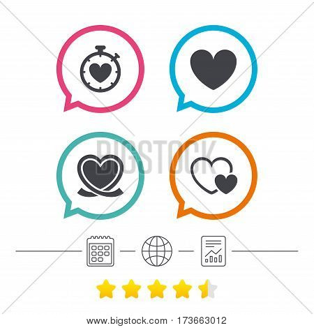 Heart ribbon icon. Timer stopwatch symbol. Love and Heartbeat palpitation signs. Calendar, internet globe and report linear icons. Star vote ranking. Vector