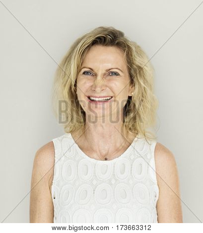 Caucasian blonde woman with a nice smile