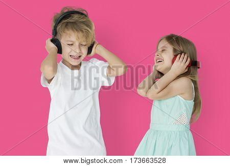 Little Children Headphones Enjoying Smiling