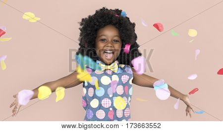 African Little Girl Party Studio Portrait Concept