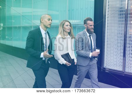 Photo Gradient Style with Businesspeople Men Women Walk Colleague