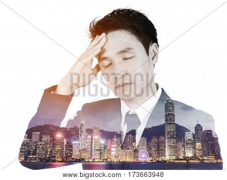 Double Exposure Of  Business Man Having Stress Against City Isolated On White Background