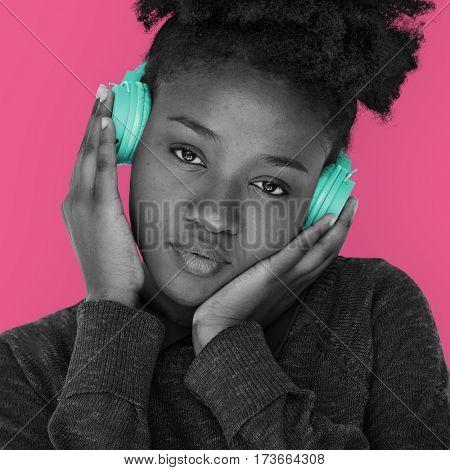 African Woman Headphones Listening Music Media Studio Portrait