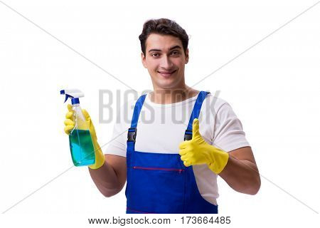 Man with cleaning agents isolated on white background