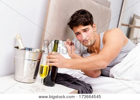 Man with hangover after late partying