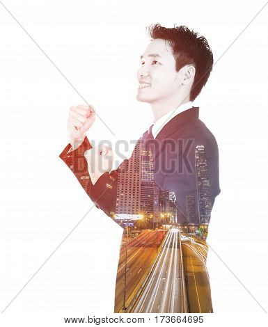 Double Exposure Of Winning Businessman Against City Isolated On White Background