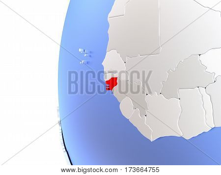 Guinea-bissau On Metallic Globe