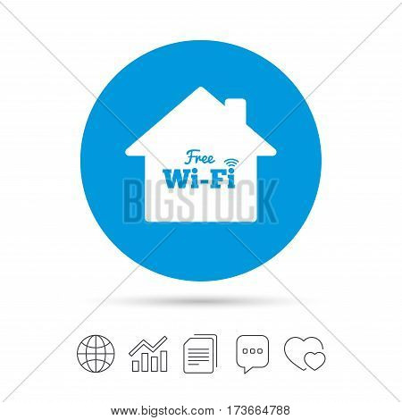 Home wifi sign. Wifi symbol. Wireless Network icon. Wifi zone. Copy files, chat speech bubble and chart web icons. Vector