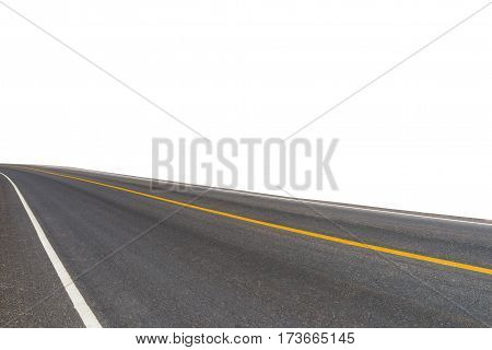 Side view of asphalt road isolated on white background. This has clipping path.