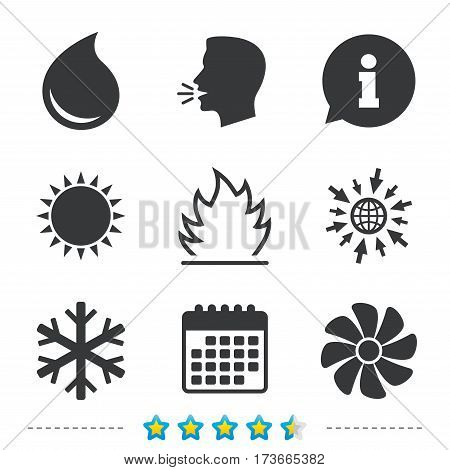 HVAC icons. Heating, ventilating and air conditioning symbols. Water supply. Climate control technology signs. Information, go to web and calendar icons. Sun and loud speak symbol. Vector