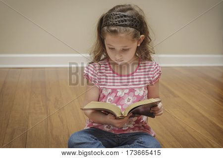 little girl sitting in the floor reading a book