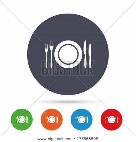 Plate dish with forks and knifes. Eat sign icon. Cutlery etiquette rules symbol. Round colourful buttons with flat icons. Vector