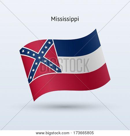 State of Mississippi flag waving form on gray background. Vector illustration.