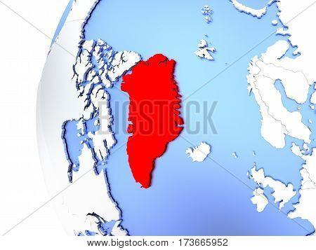 Greenland On Metallic Globe