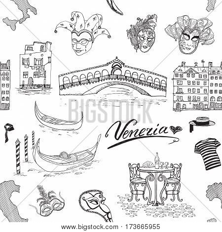 Venice Italy seamless pattern. Hand drawn sketch with map of Italy gondolas gondolier clothes carnival venetian masks houses market bridge cafe table and chairs. Doodle drawing isolated on white