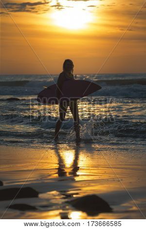 Surfer girl surfing looking at ocean beach sunset.