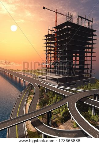 Construction of a skyscraper at sunset.,3d render