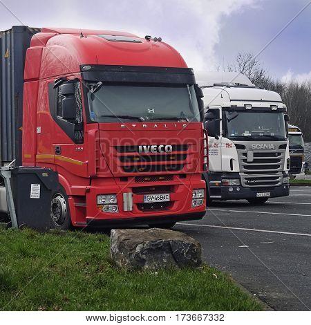 Poland, Eastern Europe,, February, 13, 2016: trucks on a parking in Belgium, Europe