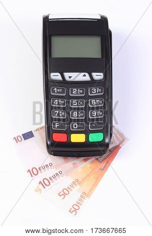 Payment Terminal, Credit Card Reader With Currencies Euro, Cashless Paying For Shopping Or Products