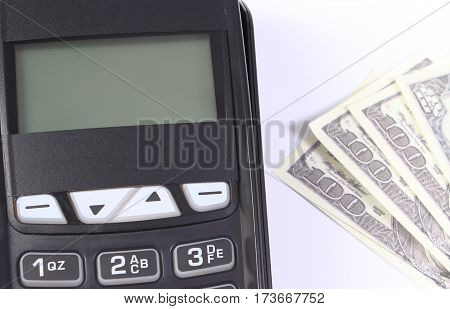 Payment Terminal, Credit Card Reader With Currencies Dollar, Cashless Paying For Shopping Or Product