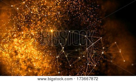 Elegant fantasy abstract technology, science and engineering background with golden particles, plexus lines and star light. Depth of field settings. 3d rendering.