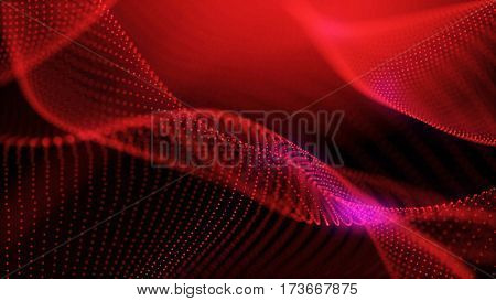 Elegant fantasy abstract technology, science and engineering background with red particles forming a veil. Purple electric lights. Depth of field settings. 3d rendering.