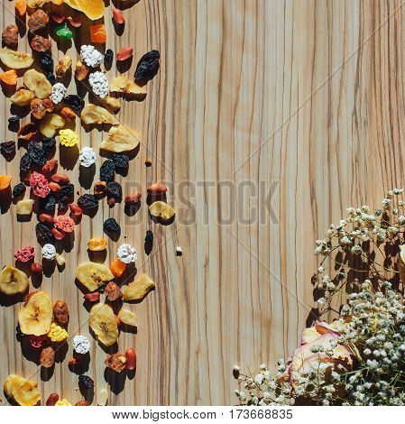 background with vegetables dried fruits flowers background tree