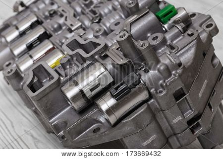 Mechanical parts with hydraulic valves. Engineering. Building and repair. Tools and spares.