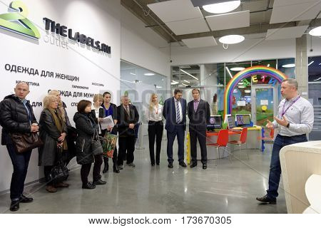 ST. PETERSBURG, RUSSIA - OCTOBER 27, 2016: People in the fulfillment center of Ulmart company. Ulmart is one of the largest Internet retailers in Russia