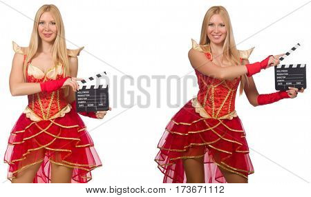 Woman with movie clapperboard isolated on white