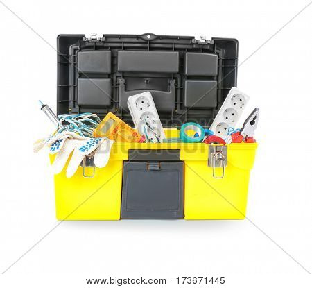 Chest with tools on white background