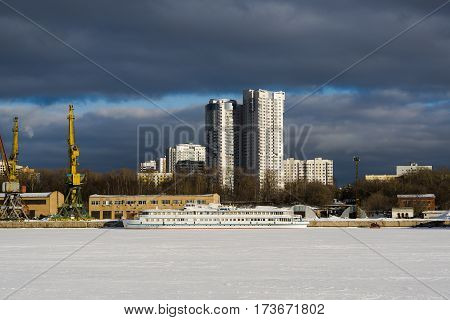Cruise ship on the dock on the northern river station in Moscow