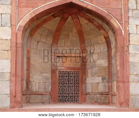 DELHI, INDIA - FEBRUARY 13 : Architecture detail inside the Humayun's Tomb, built by Hamida Banu Begun in 1565-72, Delhi, India on February, 13, 2016.