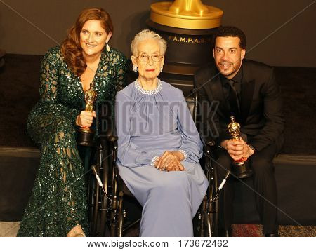 Caroline Waterlow, Katherine Johnson and Ezra Edelman at the 89th Annual Academy Awards - Press Room held at the Hollywood and Highland Center in Hollywood, USA on February 26, 2017.